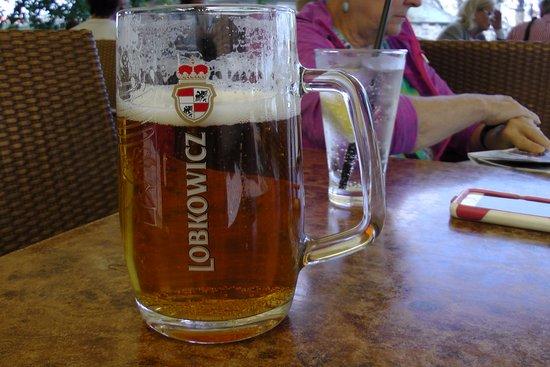 Hotel U Jezulatka: large Lobkowicz beer at outdoor bar/terrace right on the Vltava under Charles Bridge