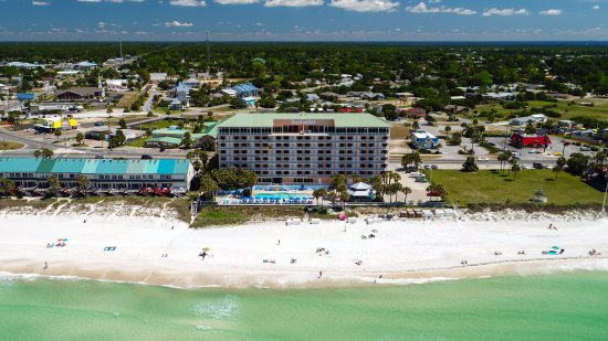 Beachcomber By The Sea: Aerial Photo of Hotel, Gazebo area, and Beach