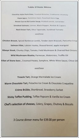 Crathorne, UK: The Table D'Hote menu