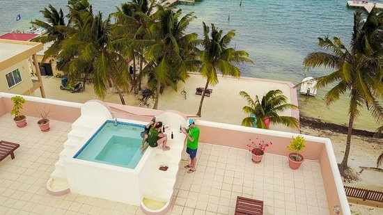 Seaside Villas Condos: Roof top hot tub and terrace from a drone