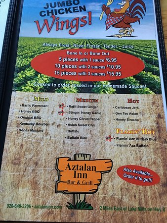 Lake Mills, WI: Wing menu