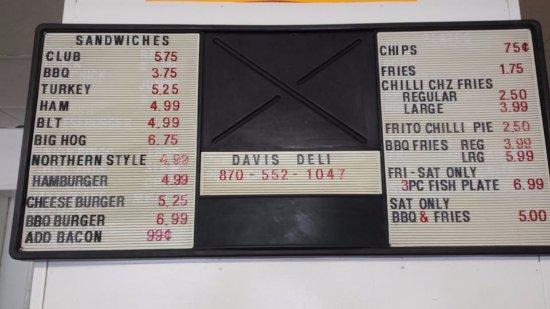 Carlisle, AR: Menu at Davis Deli