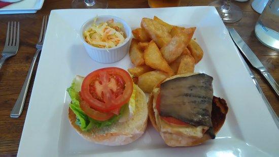 Falfield, UK: Halloumi and aubergine burger