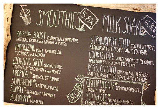 Vivi's Creamery: Smoothie menue