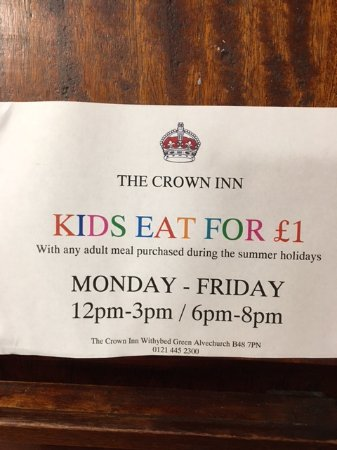 Alvechurch, UK: Fantastic summer meal deal for families