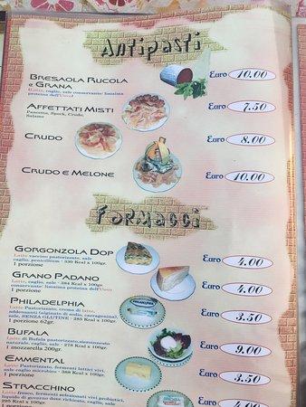 Osteria Pizzeria Muriti': Speisekarte Stand August 2017