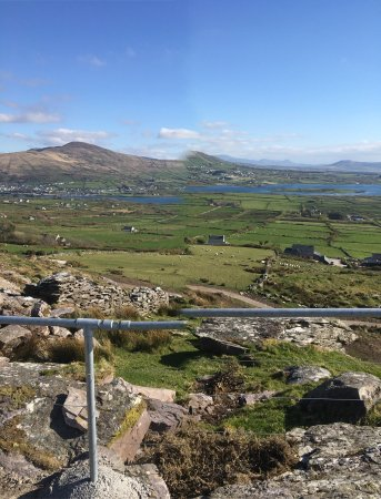 Cahersiveen, Ireland: Fabulous panoramic views from The Top of The Rock Viewing Platform with lovely Fairy Houses alon