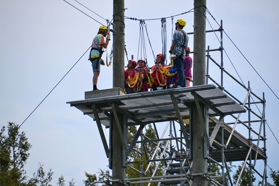 Saint John Adventures Zipline: Learning the ropes from one of the guides.