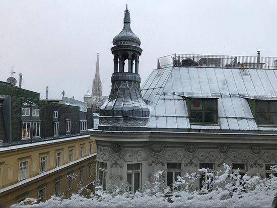 Mercure Wien Zentrum: View from our window. St Stephen's spire in the distance. We were on the 9th floor. corner room