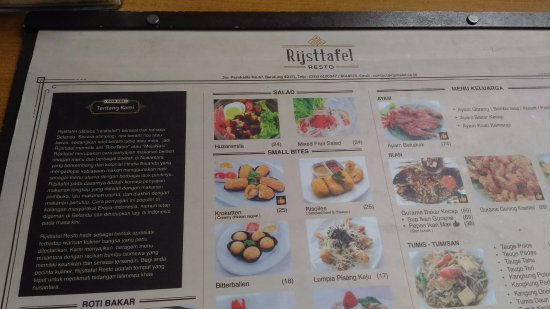 Sample Of Menu List  Picture Of Rijsttafel Resto Bandung  Tripadvisor