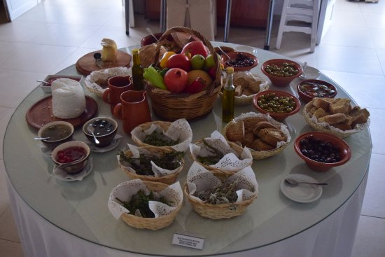 Aegialis Hotel & Spa: some of the breakfast options, with local herbs
