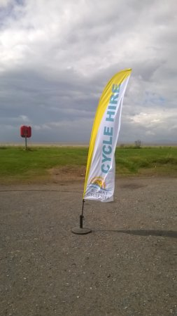 Flying the flag near the shore at Allonby.