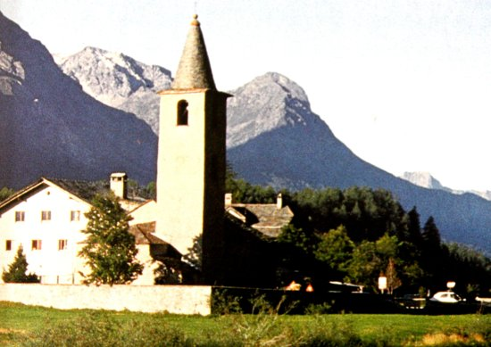 Sils im Engadin, Suisse : Kirche im Ortsteil Sils-Baselgia