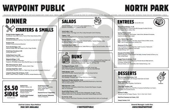 north park dinner menu sample picture of waypoint public san