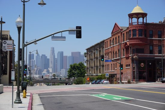 Melting Pot Food Tours: View of downtown LA from Mariachi Plaza