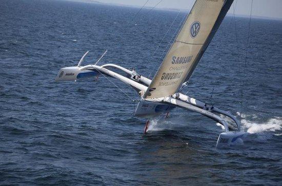 Trimaran Sailing in Caldera