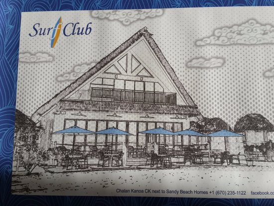 Chalan Kanoa, Mariana Islands: Place mat with sketch of the Surf Club
