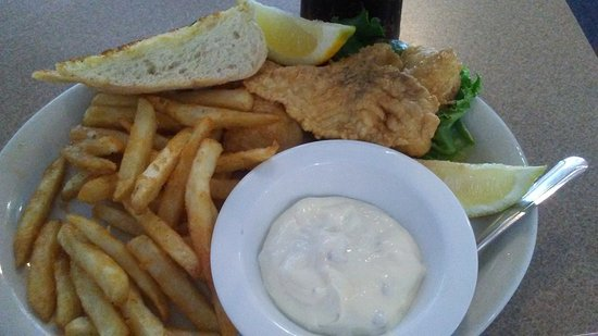 Chowder Bowl: Grilled turkey and cheese and The fish and fries comes with cup of chowder and bread