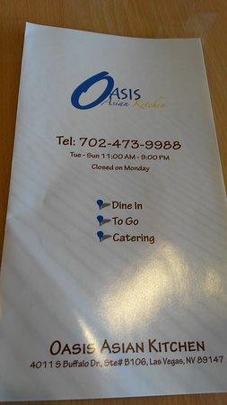 Menu Picture Of Oasis Asian Kitchen Las Vegas Tripadvisor