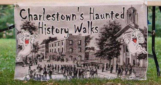 Charlestown's Haunted History Walks: Company Banner with Old Charles Town,WV and the courthouse during the John Brown Trials