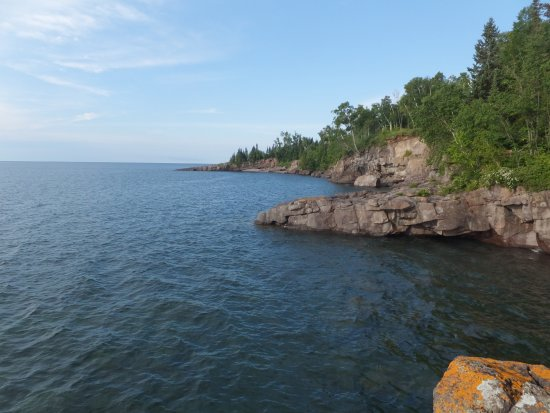 Tofte, MN: view of rocky shore below Property