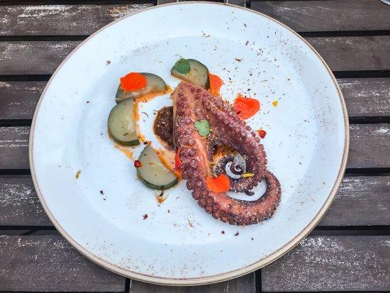 Tannersville, État de New York : Octopus appetizer with nasturtiums from the garden
