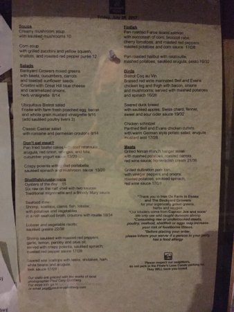 Duckworth's Bistrot : Menu. Loved that they offered half portions