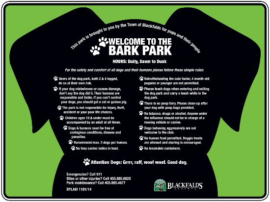 Bark Park rules  and regulations