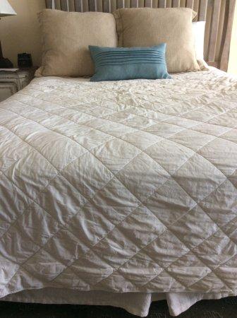 Oceanfront Litchfield Inn: Brown comforter