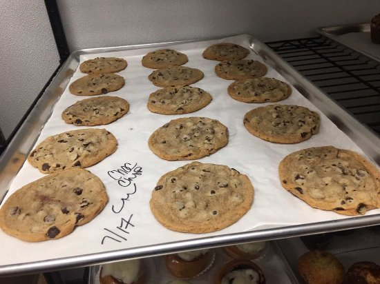 Apalachin, NY: Hot chocolate chip cookies fresh from the oven! Yes, we have milk to go with them too!