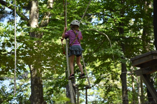Newbury, New Hampshire: balancing on a wire and holding ropes