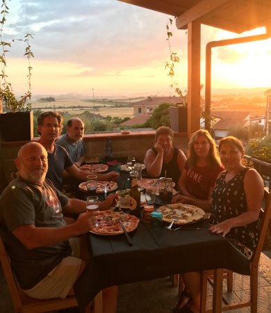 Pizza, Tuscan view, sunset at Serre di Rapolano