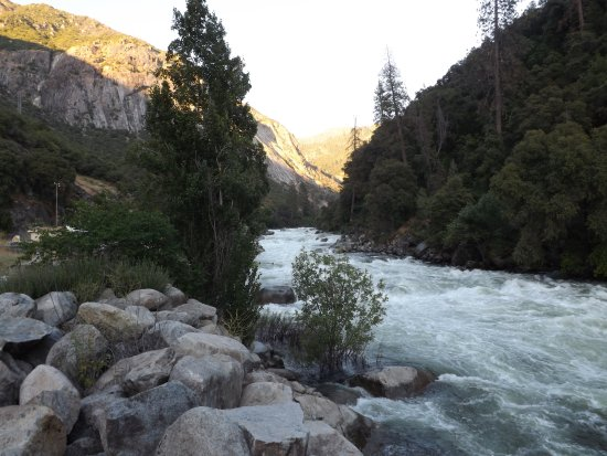 the merced river flowing directly behind the hotel. Black Bedroom Furniture Sets. Home Design Ideas