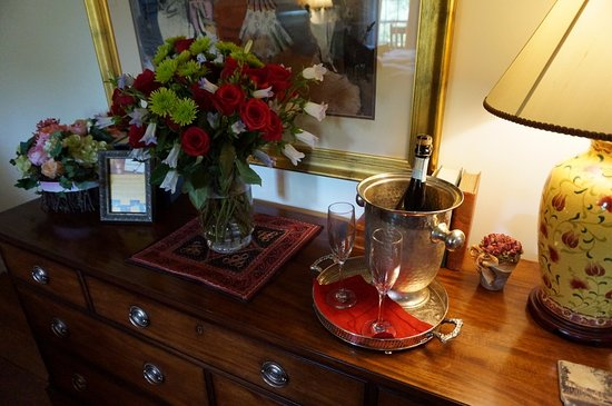 Granville, OH: our beautiful rose bouquet and champagne