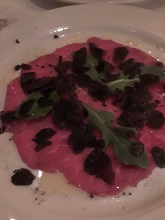 Babbo: Beef Carpaccio with Fresh Black Truffles and Capezzana Olive Oil