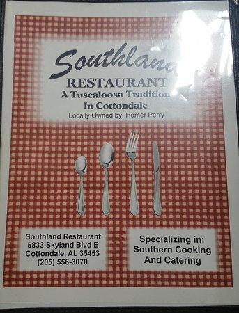 Cottondale, AL: southland menu pg 1