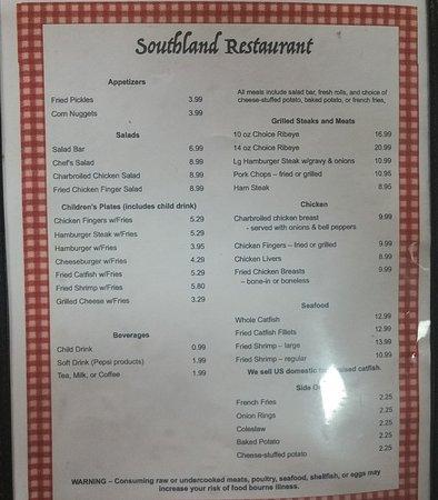 Cottondale, AL: southland menu pg2