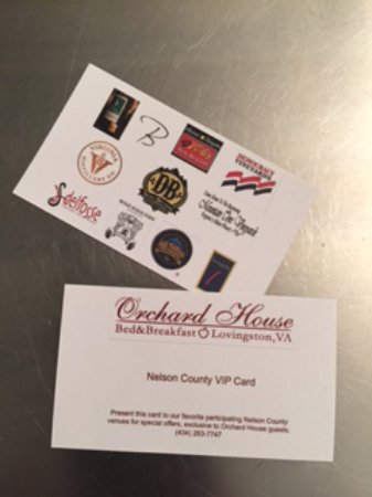 Lovingston, VA: Our guests love our new Nelson County VIP Card!  Special deals from some of our favorite places!