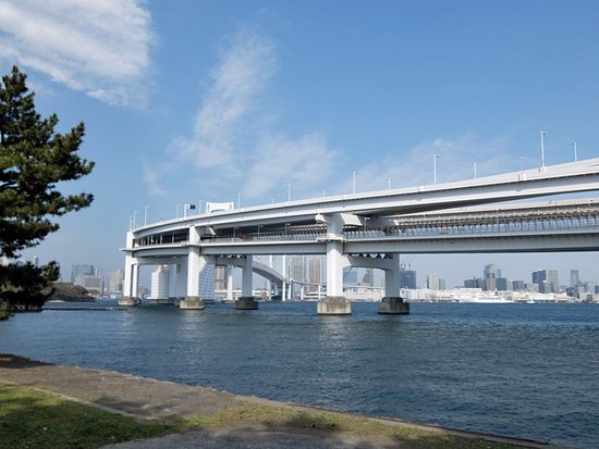 Odaiba Kaihin Koen (Odaiba Seaside Park) : レインボーブリッジの間近までランニングコースがあります