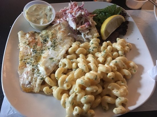 Cape Vincent, NY: Pizza Broiled haddock with macaroni and cheese and coleslaw