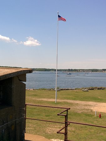 Fort Stark State Historic Site: our flagpole erected during World War II and Little Harbor