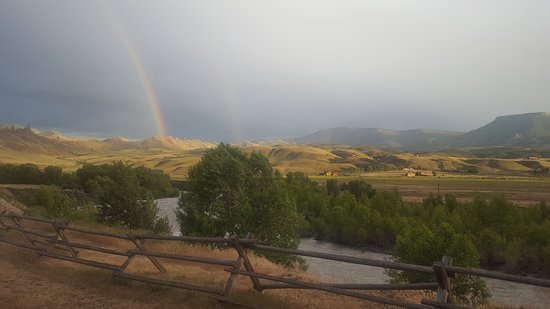 Wapiti, WY: View out sliding door, back of room