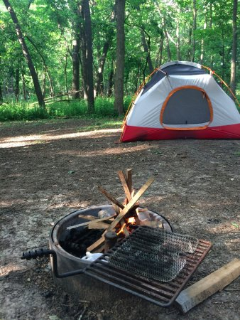 Great River Bluffs State Park: Cart-in campsite. Traffic noise ALL NIGHT long!