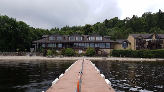 Lodge on Loch Lomond: View looking back to main part of hotel from owned marina