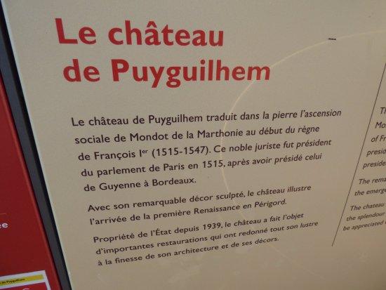 Chateau de Puyguilhem: la description