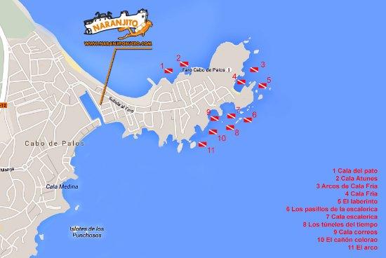 Cabo De Palos Mapa España.Mapa De Inmersiones En Las Preciosisimas Calas De Cabo De