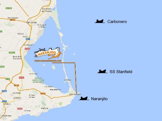 Cabo De Palos Mapa España.Mapa De Inmersiones En Los Emblematicos Pecios De Cabo De