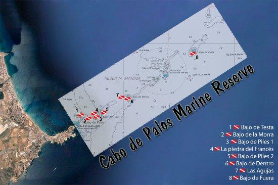 Mapa de inmersiones en la Reserva de Cabo de Palos