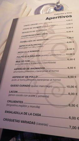 Unoom Restaurante: carta