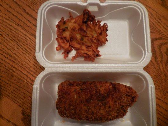 Delafield, WI: Pathetic 'potato pancake' and cod fish fry (leftovers) at Kurt's